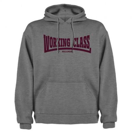 Working Class Records sudadera con capucha gris jaspeado granate