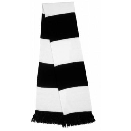 bufanda casual retro futbolera blanca y negra