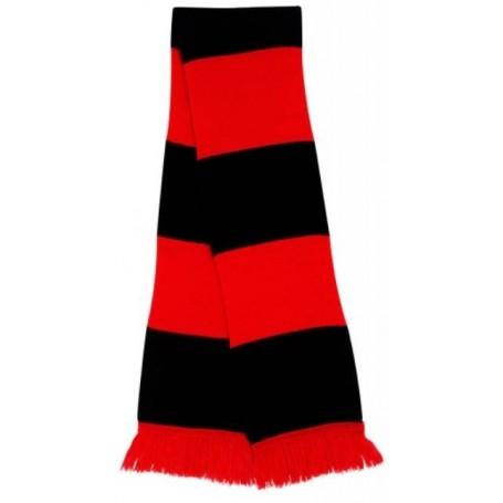 bufanda casual retro futbolera roja y negra