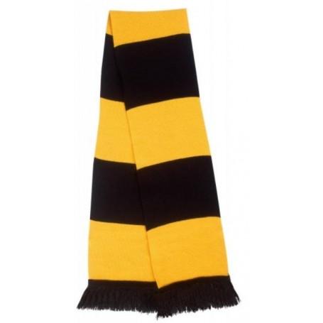 bufanda casual retro futbolera negro y amarillo
