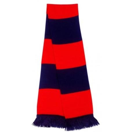 bufanda casual retro futbolera azul marino y rojo
