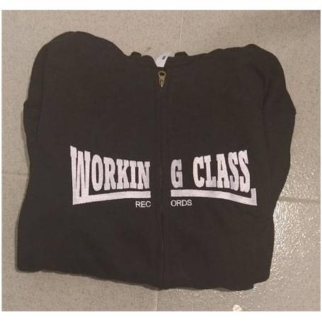 Working Class Records sudadera NEGRA cremallera con capucha CHICO
