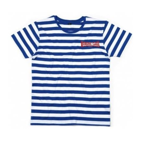 Working Class Records camiseta rayas blancas azules bordado rojo bordada