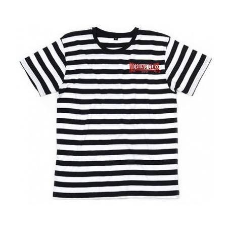 Working Class Records camiseta rayas blancas negra bordado rojo