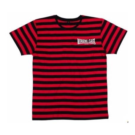 Working Class Records camiseta rayas rojas negras bordado blanco