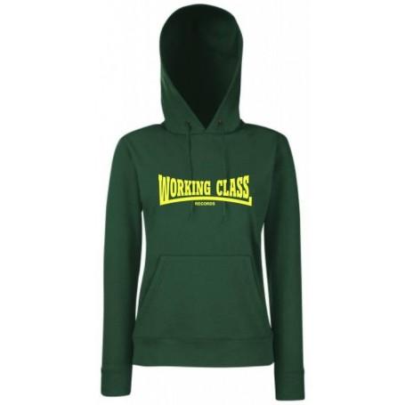 Working class records sudadera verde con capucha chica