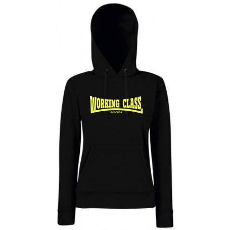 Working class records sudadera negra amarillo con capucha chica