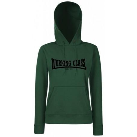 Working class records sudadera verde negra con capucha chica