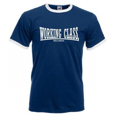 working class records 2 colores azul cuello blanco camiseta