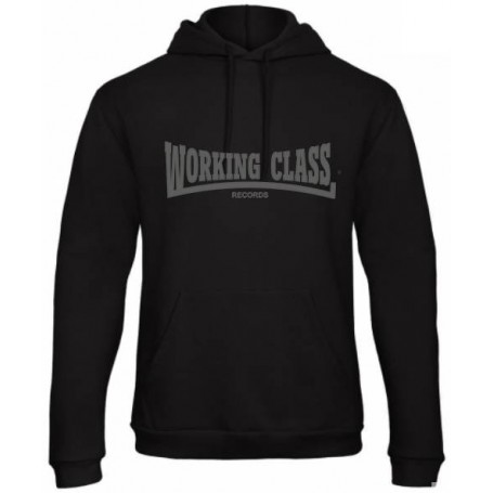 Working Class Records sudadera con capucha negro gris